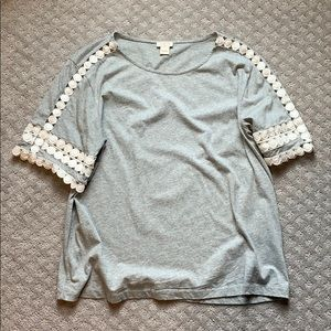 """Jcrew Grey T-shirt with """"lace"""" detail"""